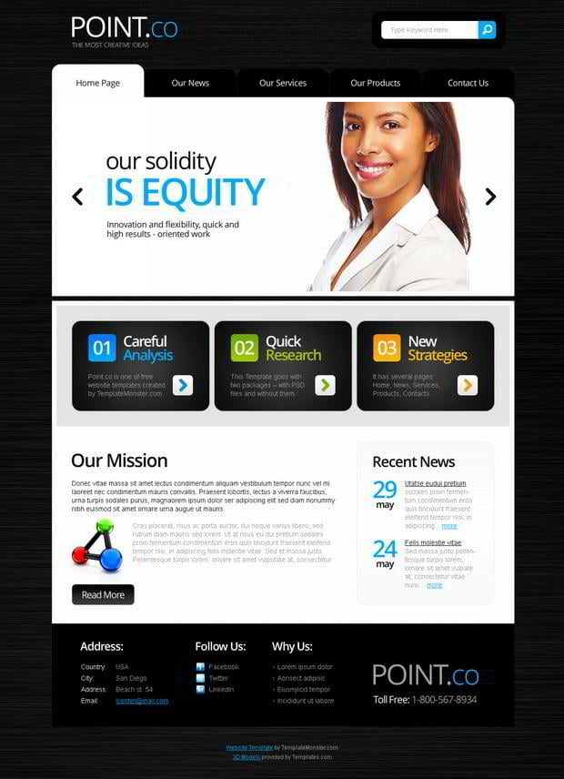 Free Website Template with jQuery Slider   MonsterPost