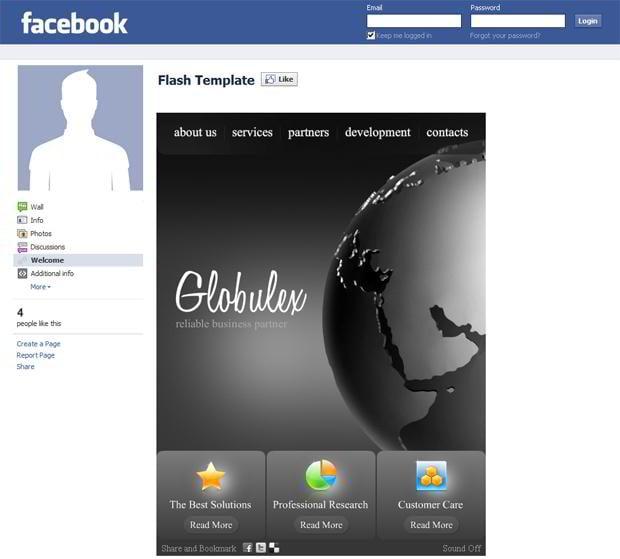 Facebook corporate and business templates showcase monsterpost globulex facebook flash template facebook business templates wajeb Image collections