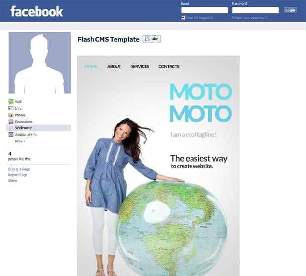 Facebook corporate and business templates showcase monsterpost motomoto facebook flash cms template facebook business templates accmission Choice Image