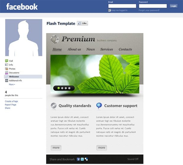 Facebook corporate and business templates showcase monsterpost premium business company facebook flash template accmission Image collections