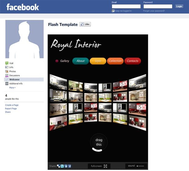 Interior Design Flash Template 19551: Facebook Templates With Awesome Gallery Solutions
