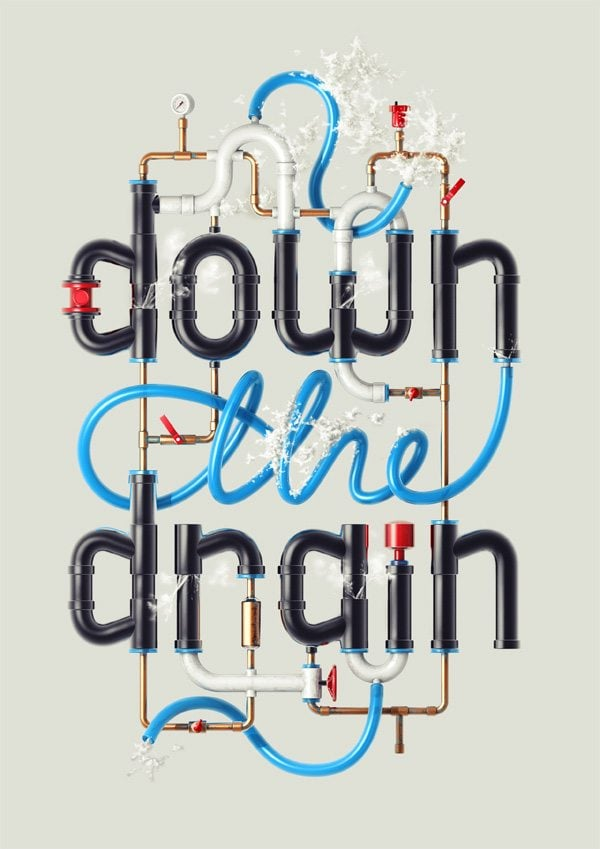 Typography-Going-Down-the-Drain