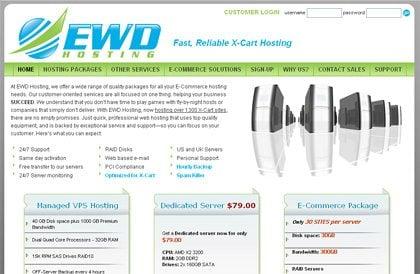 ewdhosting website screen