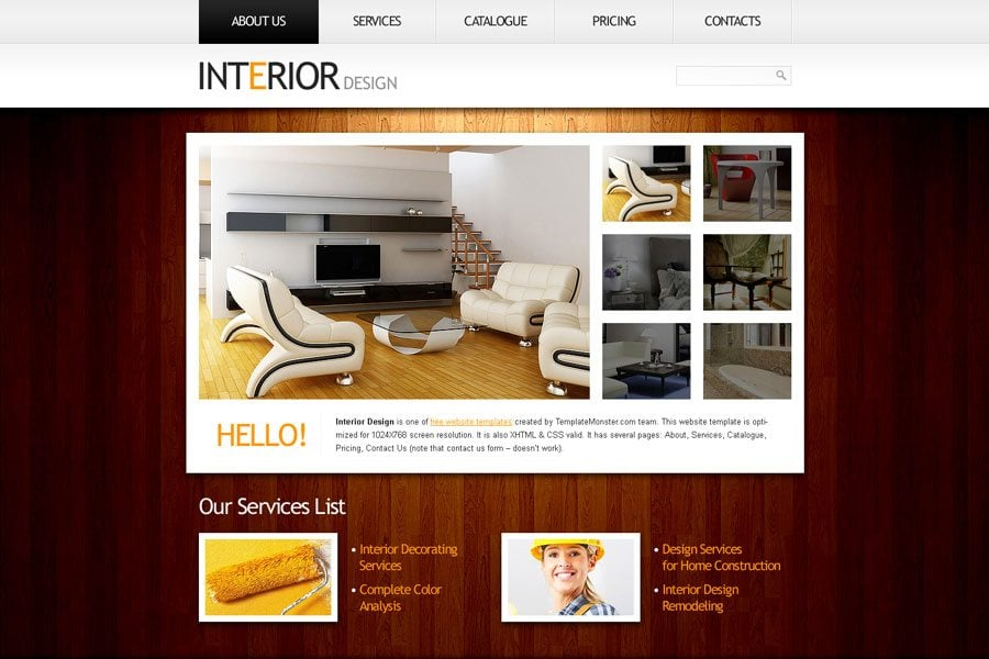 Free website template in clean style for interior project for Interior design styles website