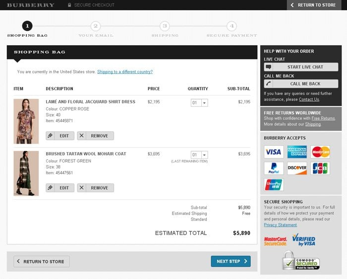 Best HTML Shopping Cart Page Designs - Invoice templates for free burberry outlet online store