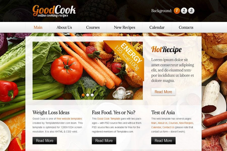 Free Website Template with Slideshow for Cooking Site - MonsterPost