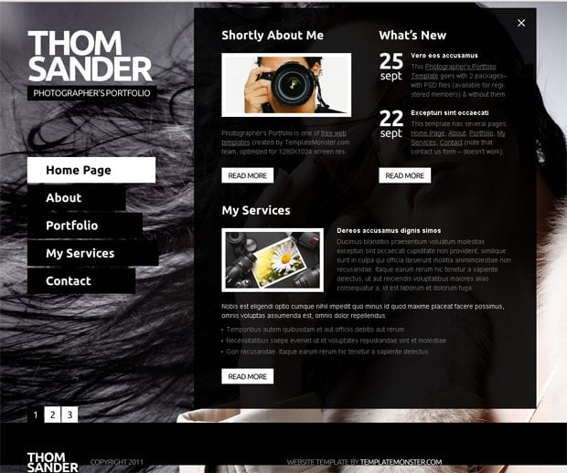 Free Full JS Website Template. Photography - MonsterPost