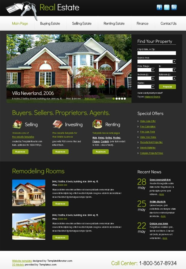 Free Website Template with Slideshow for Real Estate Project ...