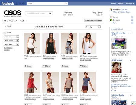 ASOS Facebook store