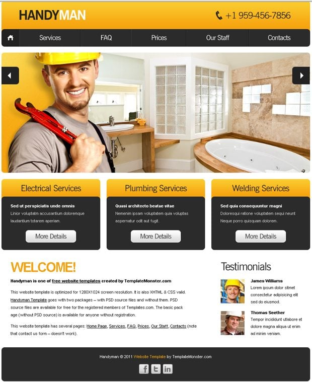 free website template with slideshow for maintenance business monsterpost. Black Bedroom Furniture Sets. Home Design Ideas