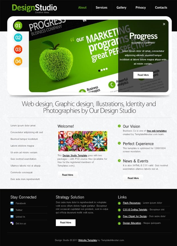 Free Website Template with Slider for Design Studio - MonsterPost