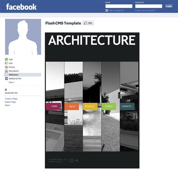 motocms facebook templates showcase monsterpost. Black Bedroom Furniture Sets. Home Design Ideas