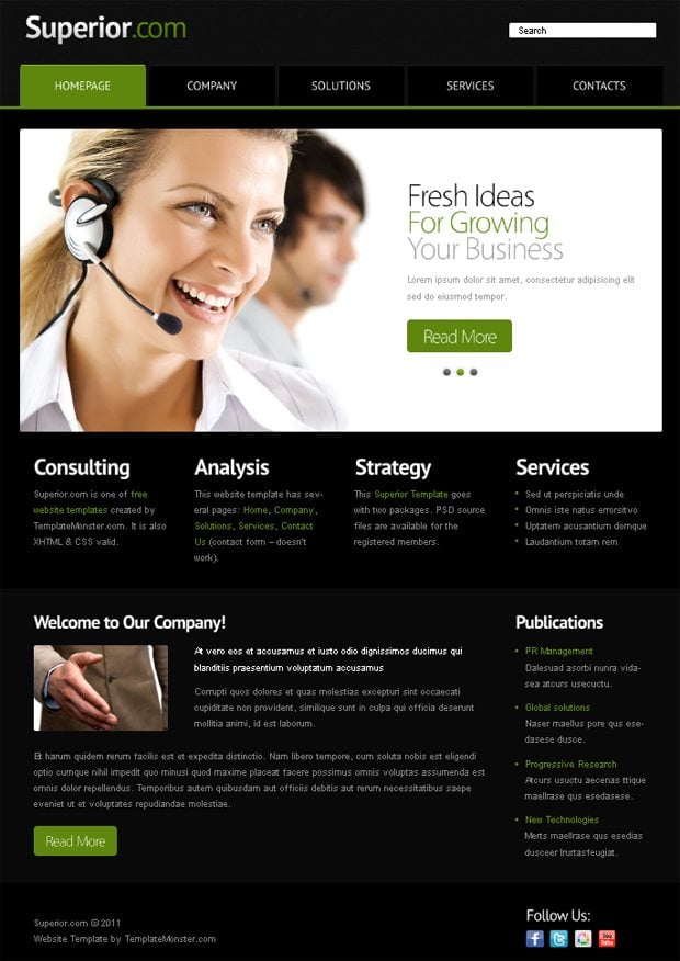 Free Website Template with jQuery Slider for Business Project ...