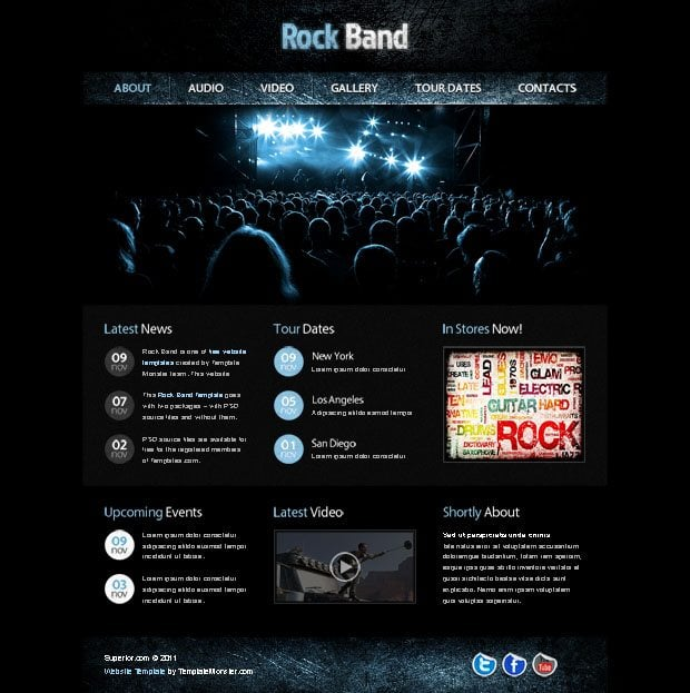 free website template with jquery gallery for music site monsterpost. Black Bedroom Furniture Sets. Home Design Ideas