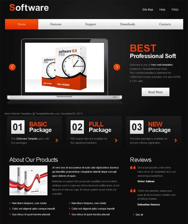 Free website template with jquery slider for software for Free blogger templates with slider