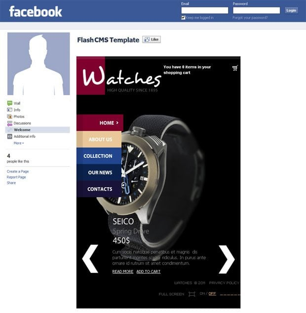 facebook-flash-cms-store-template