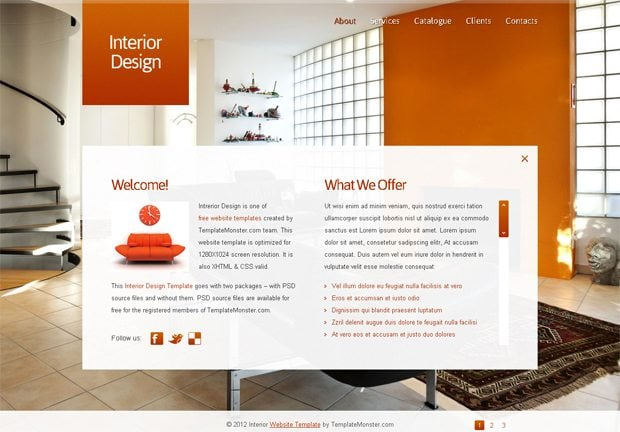 Free Full JavaScript-Animated Template for Interior Design Website ...