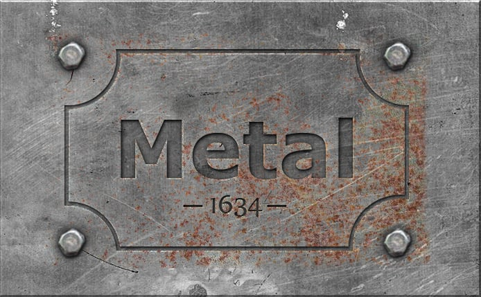 engraved metal photoshop effect
