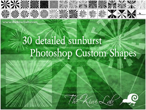 30 Sunburst Custom Shapes