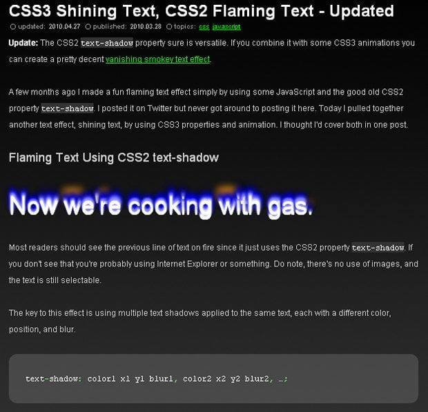 CSS Shining Text
