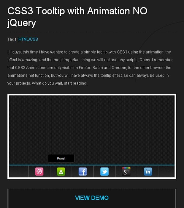 CSS3 Tooltip with Animation NO jQuery