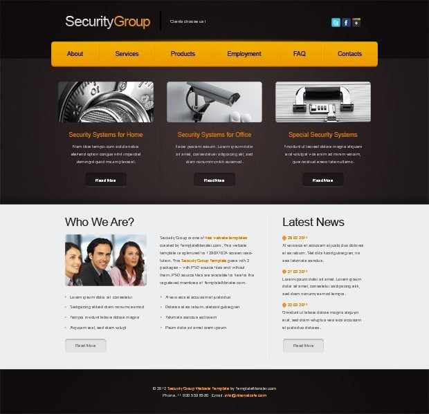 Free Website Template for Security Project - MonsterPost