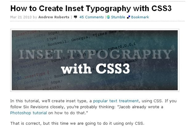 How to Create Inset Typography with CSS3