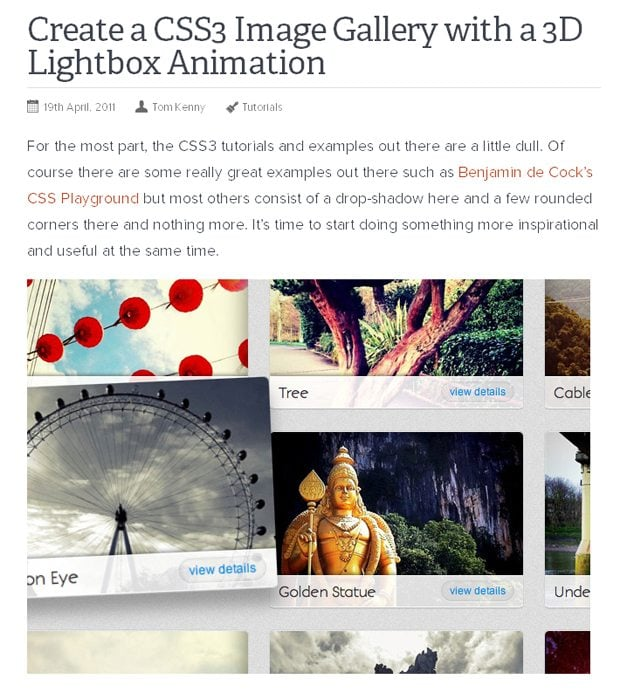 Image Gallery with a 3D Lightbox Animation