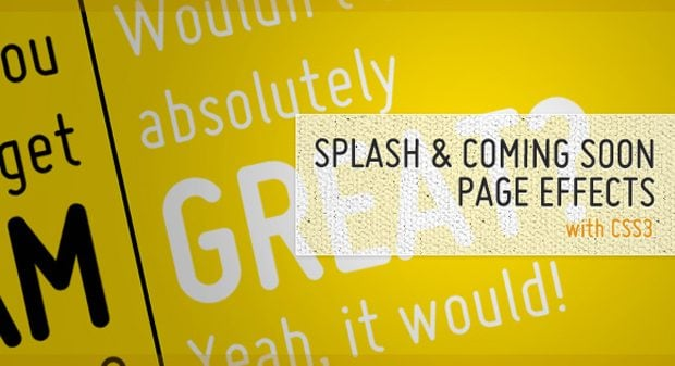 Splash and Coming Page Effects