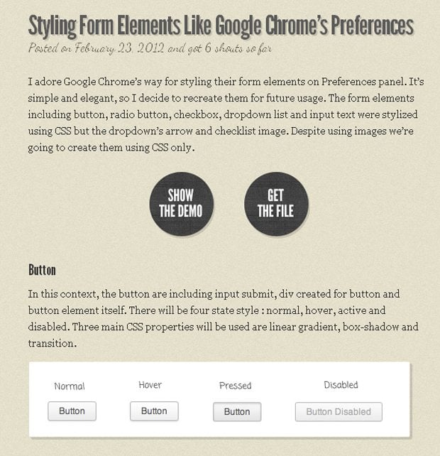Form Elements Like Google Chrome Preferences