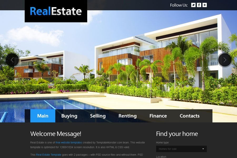 Free Website Template For Real Estate With Justslider Monsterpost
