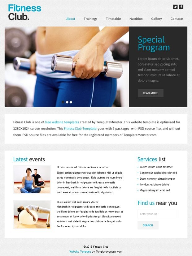 Free Website Template with jQuery Slider for Fitness Club – Fitness Templates Free