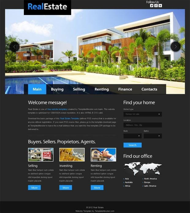 Free Website Template for Real Estate with JustSlider - MonsterPost