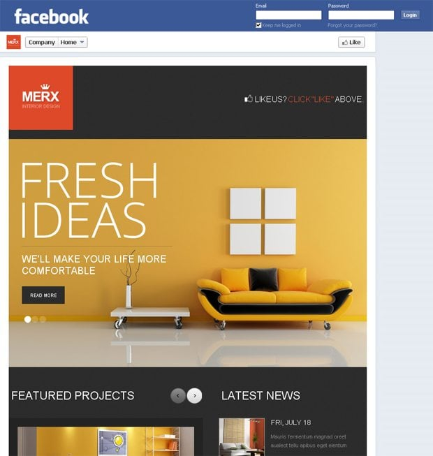 New facebook templates with 810px wide layout monsterpost for Interior design facebook pages