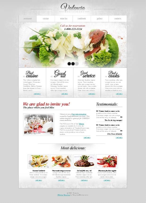 Free website template with jquery slider for restaurant for Cuisine site