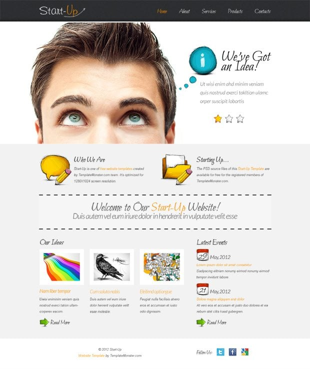 Free Website Template with jQuery Slider for Business Startup