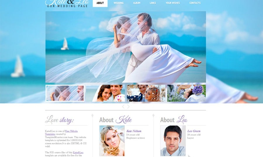 free blogger templates with slider - free website template with jquery slider for wedding page