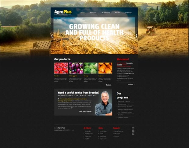 Free website template with jquery slider for agriculture for Free blogger templates with slider