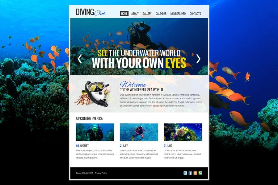 Free website template with jquery slider for diving club for Free blogger templates with slider