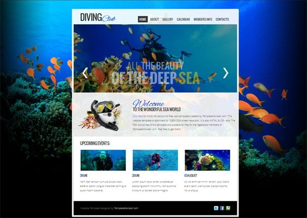 Free Website Template with jQuery Slider for Diving Club - MonsterPost