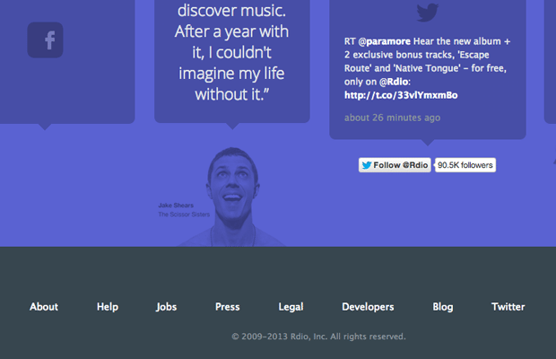 rdio website layout dark footer inspiring typography