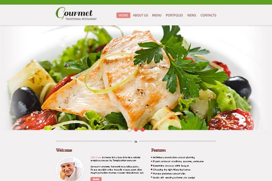 free restaurant website template setting up a positive tone