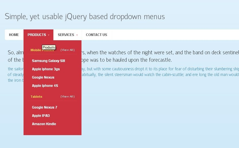 how to create drop down menu in css
