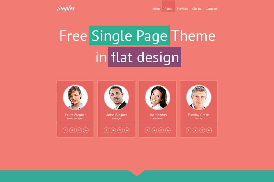 flat monday free single page website template for business site monsterpost. Black Bedroom Furniture Sets. Home Design Ideas