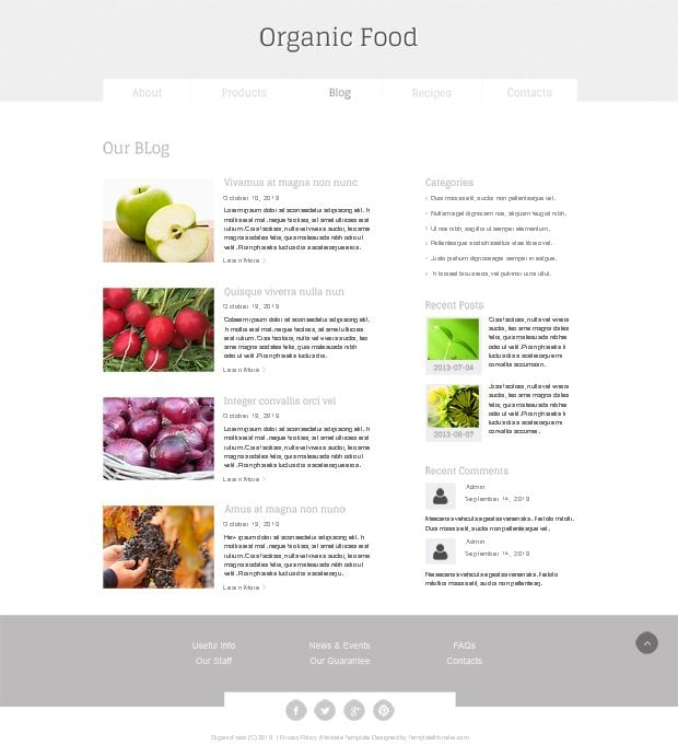 Organic Food Free HTML5 Template