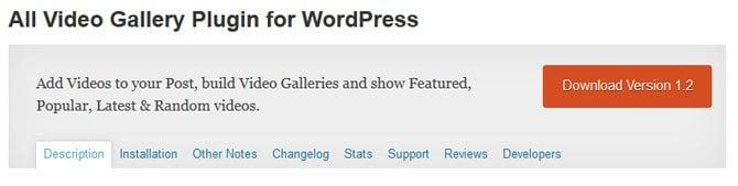All Video Gallery Plugin for WordPress
