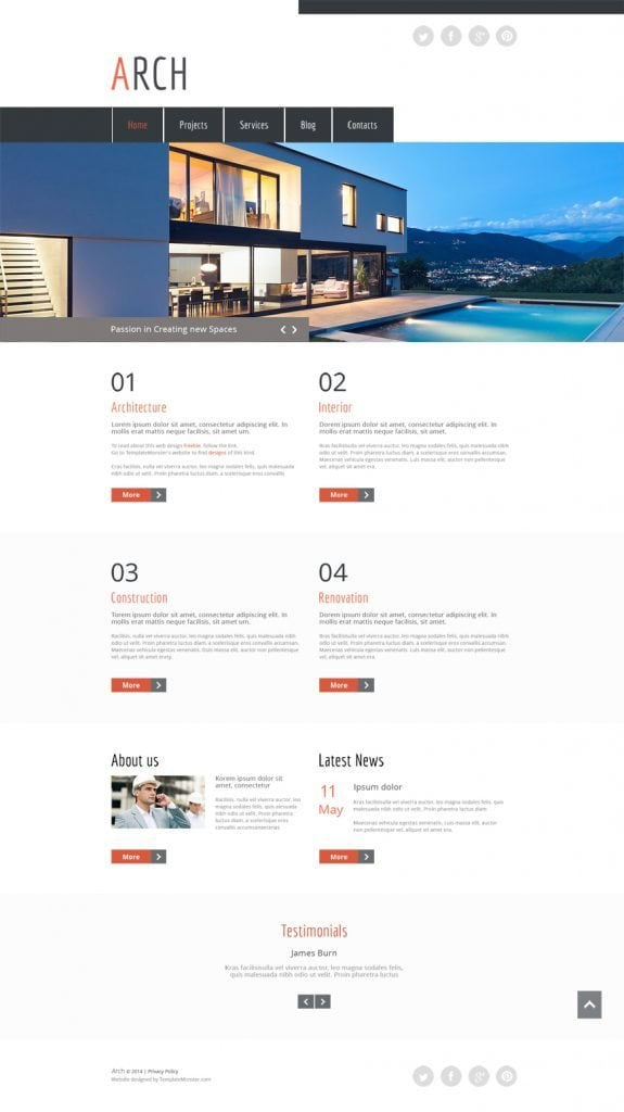 free HTML5 theme for architecture site