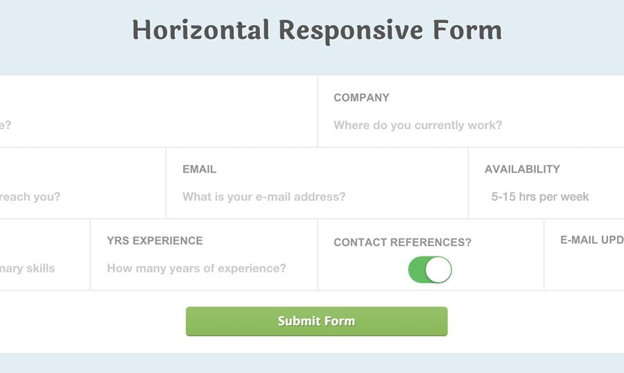 Responsive CSS3 Horizontal Application-Style Form Fields