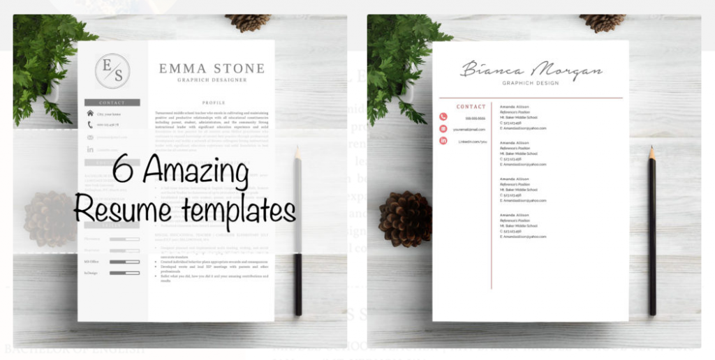 this package contains 6 professionally designed cv templates each of them includes a two page resume and one cover letter to customize the templates