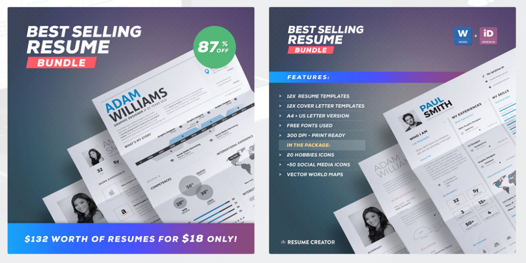40 best 2018s creative resumecv templates printable doc check out a bundle packed with 12 resume templates 12 cover letters and a creative portfolio template there are also 30 hobbies icons 50 social media yelopaper Image collections